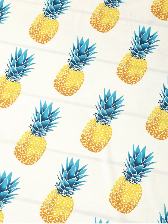 Pineapple Print Tassels Beach Throw - WHITE ONE SIZE Mobile