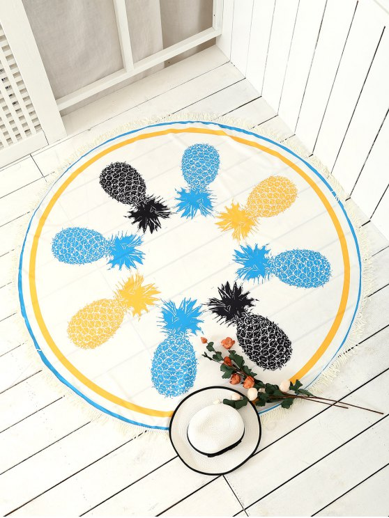 fancy Pineapple Patterned Tassels Beach Throw - WHITE ONE SIZE