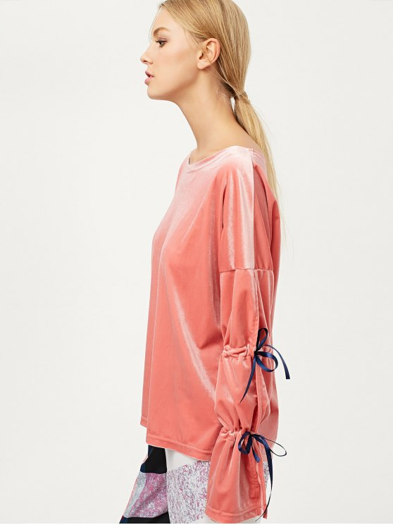 Boat Neck Split Sleeve Velvet Top - PINK M Mobile