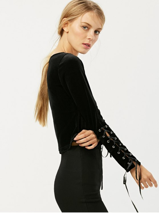 Boat Neck Lace Up Velvet Top - BLACK M Mobile