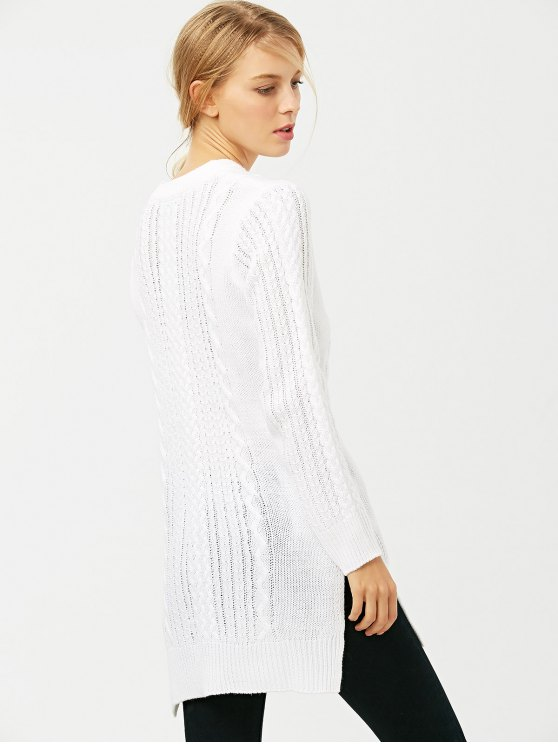 Cable Knit Side Slit Jumper - WHITE S Mobile
