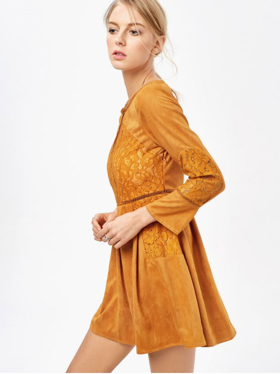 Lace Insert Cut Out Long Sleeve Dress - GINGER XL Mobile
