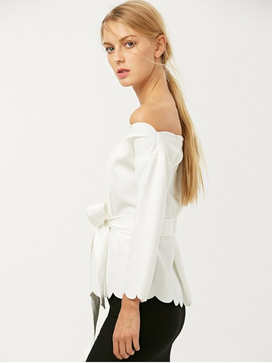 Off The Shoulder Belted Scalloped Blouse - WHITE L Mobile