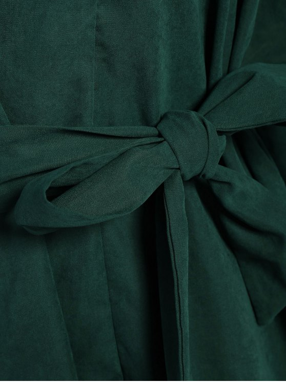 Tie Belt Midi Shirt Dress - DEEP GREEN 2XL Mobile