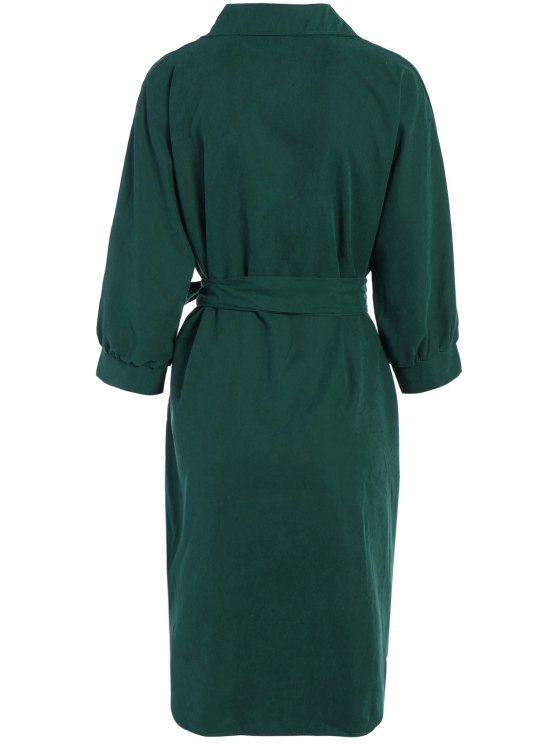 Tie Belt Midi Shirt Dress - DEEP GREEN S Mobile