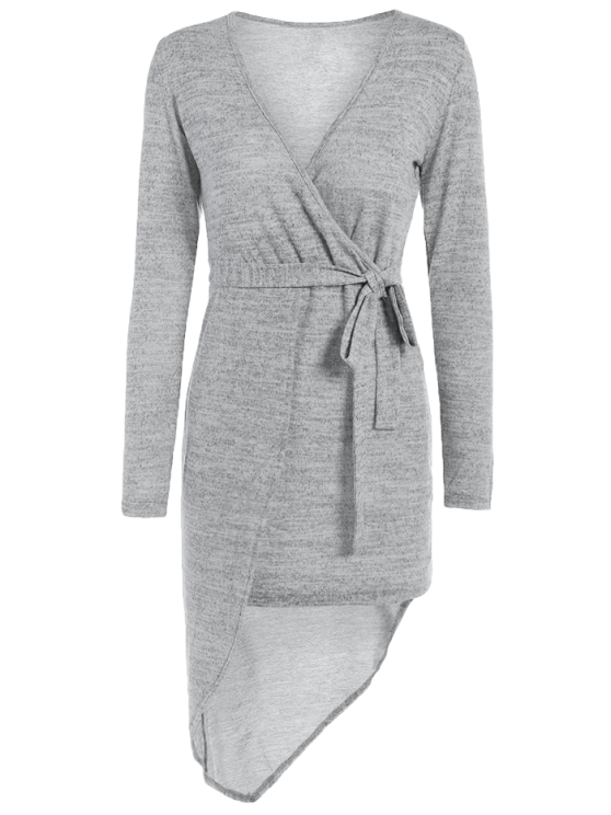 Asymmetric Crossover Knit Dress - GRAY S Mobile