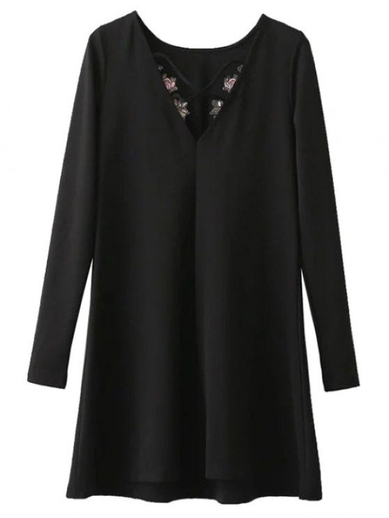 Flounced Embroidered Long Sleeve Dress - BLACK M Mobile