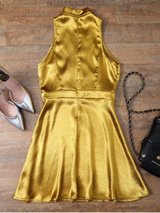 Mini Metallic Satin Choker Dress - GOLDEN M Mobile