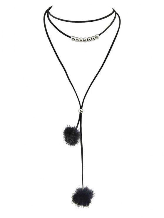Pom Pom Choker Necklace - BLACK  Mobile
