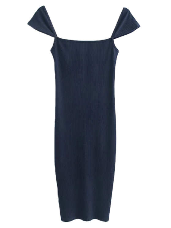 latest Low Back Ribbed Cap Sleeve Pencil Dress - PURPLISH BLUE S