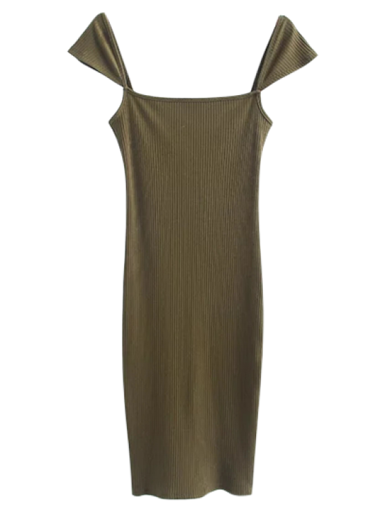 fashion Low Back Ribbed Cap Sleeve Pencil Dress - FLAX GREEN S
