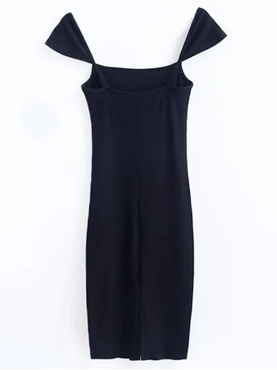 Low Back Ribbed Cap Sleeve Pencil Dress - BLACK M Mobile