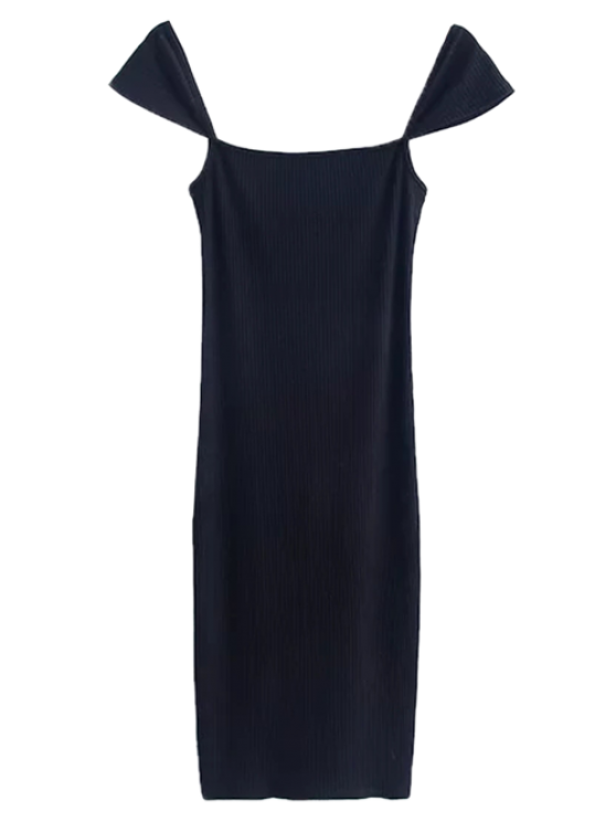 unique Low Back Ribbed Cap Sleeve Pencil Dress - BLACK M