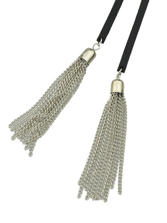 Tassel Layered Wrap Choker - SILVER  Mobile