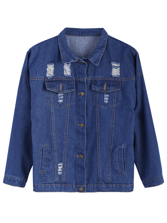 Frayed Pockets Denim Shirt Jacket - DEEP BLUE S Mobile