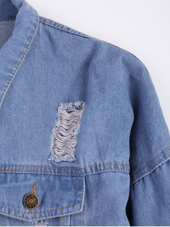 Frayed Pockets Denim Shirt Jacket - LIGHT BLUE XL Mobile
