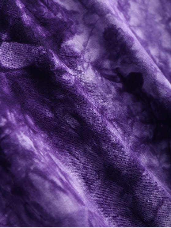 Tie Dyed Long Sleeves Tee - PURPLE M Mobile