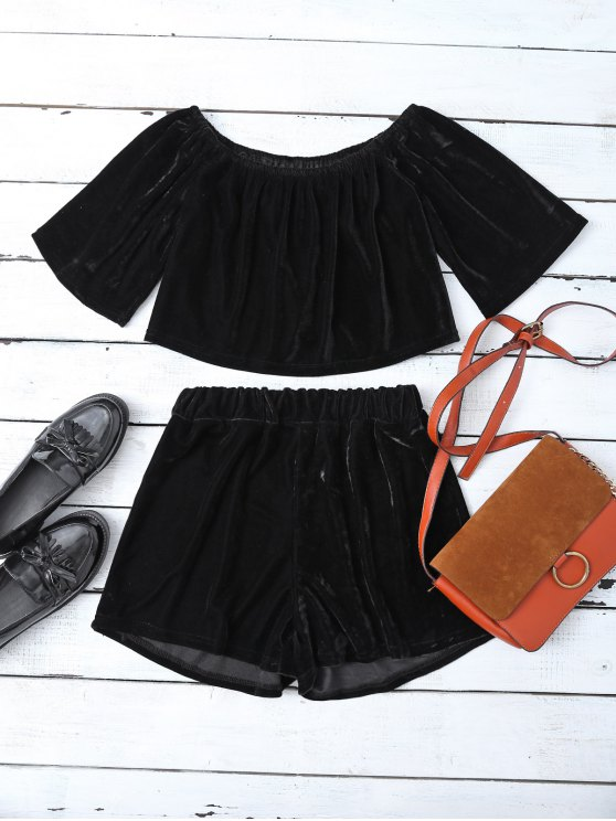 Velvet Crop Top and Shorts - BLACK M Mobile