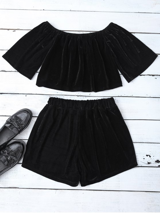 Velvet Crop Top and Shorts - BLACK L Mobile