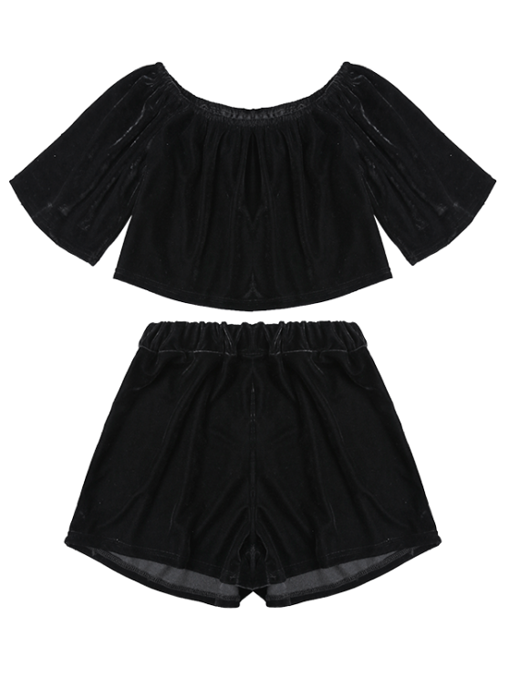 Velvet Crop Top and Shorts - BLACK XL Mobile