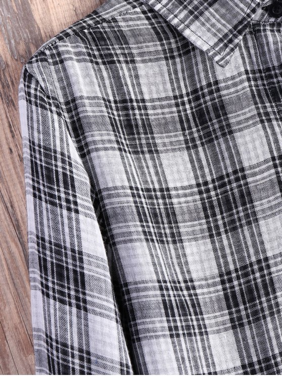 Pocket Plaid Flannel Shirt Dress - GREY AND WHITE L Mobile