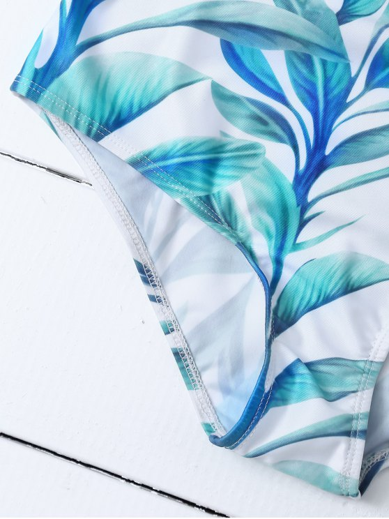 Cut Out High Waisted Leaf Print Bikini - WHITE M Mobile