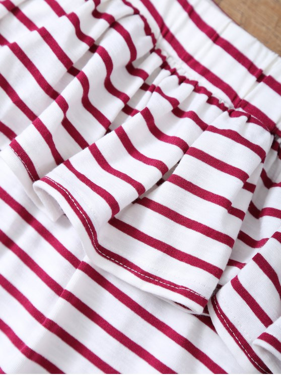 Striped Off The Shoulder Ruffles Top - RED WITH WHITE L Mobile