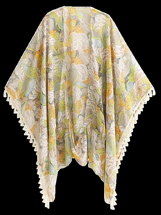 Bohemian Printed Tassel Kimono - FLORAL L Mobile
