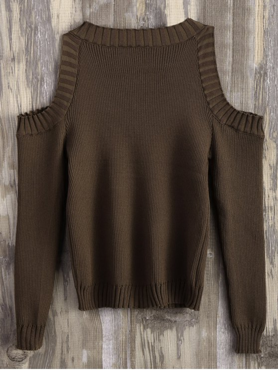 Loose-Fitting Cold Shoulder Sweater - CHOCOLATE ONE SIZE Mobile