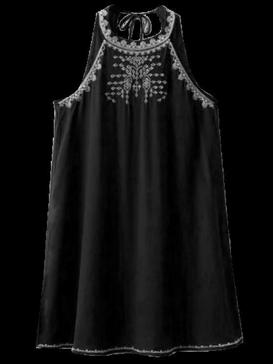 Sin mangas de corte vestido bordado Volver - Negro S
