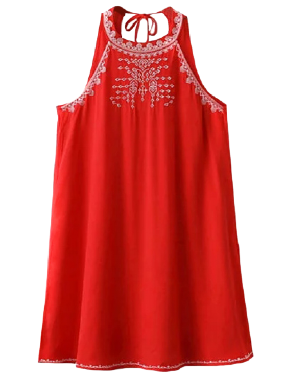 women's Sleeveless Cut Back Embroidered Dress - RED L
