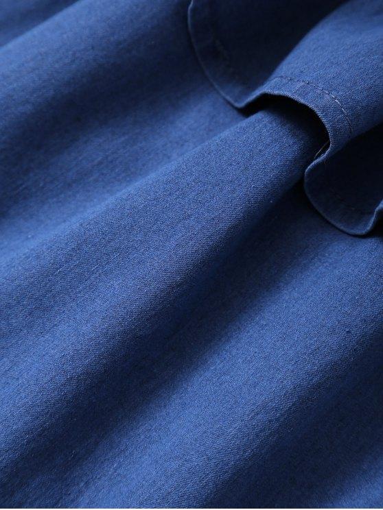 Off The Shoulder Denim Frill Top - DENIM BLUE L Mobile