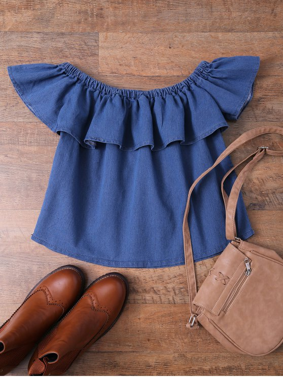 Off The Shoulder Denim Frill Top - DENIM BLUE S Mobile