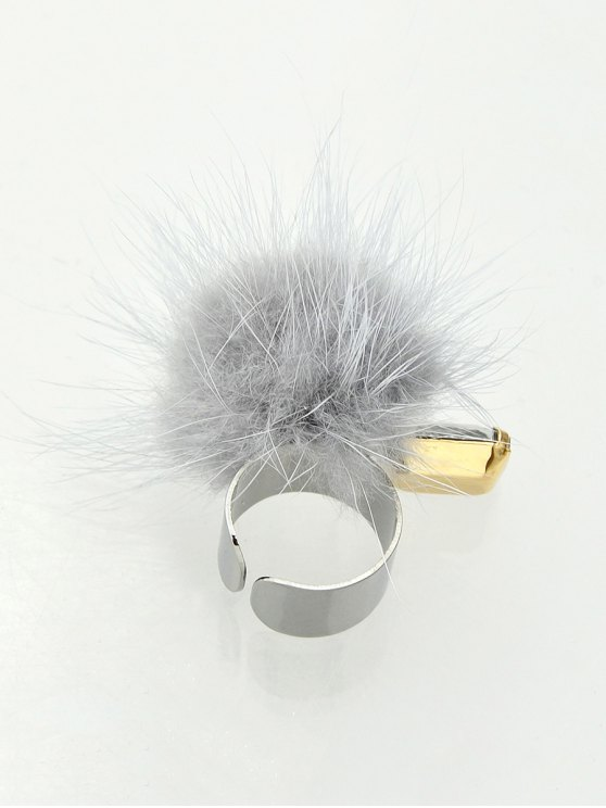 Fuzzy Ball Cuff Ring -   Mobile