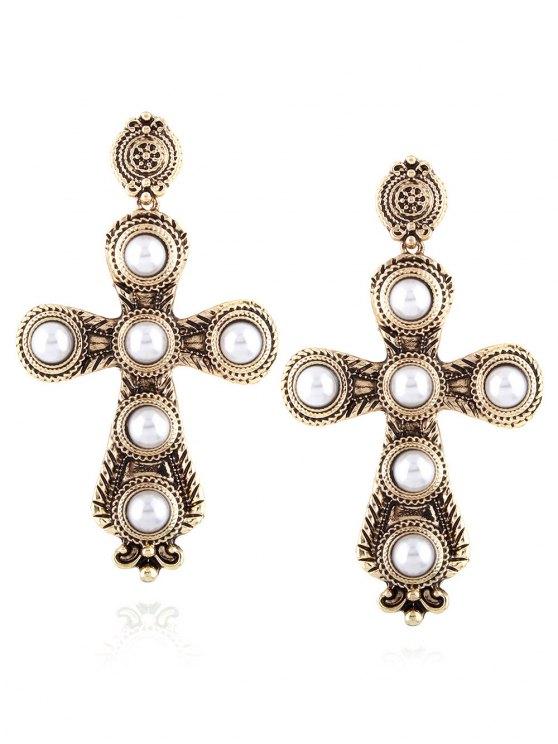 chic Cross Faux Pearl Drop Earrings - CHAMPAGNE