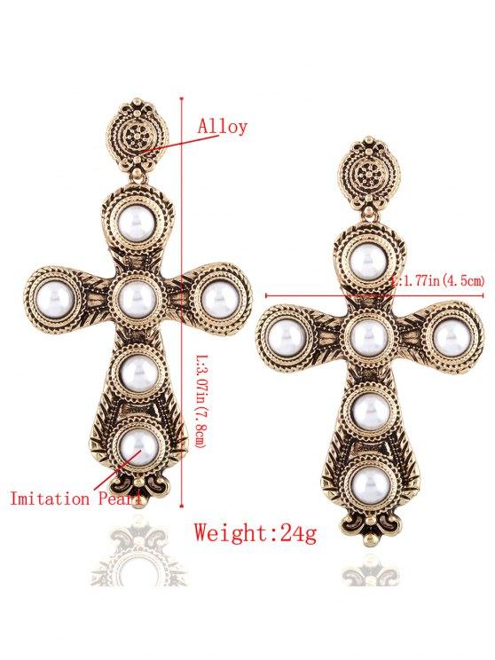 Cross Faux Pearl Drop Earrings - CHAMPAGNE  Mobile