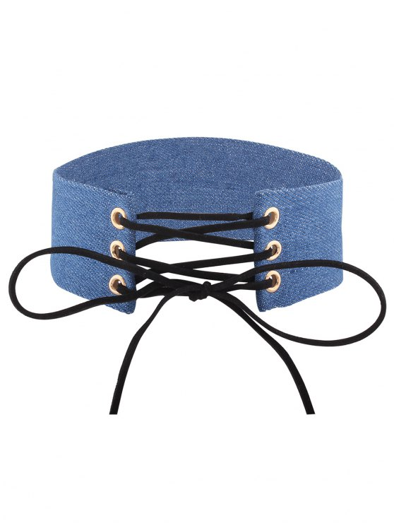chic Adjustable Bowknot Denim Choker Necklace - #02