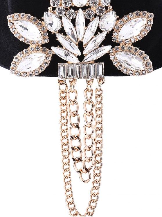 Faux Gem Velvet Chain Tassel Necklace - CHAMPAGNE  Mobile
