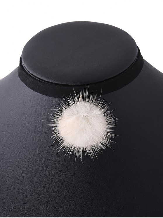 Pom Ball Velvet Choker - OFF-WHITE  Mobile