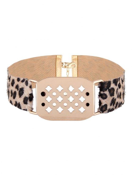 Hollowed Geometry Leopard Velvet Choker - YELLOW  Mobile