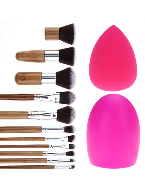 ladies Makeup Brushes Set Brush Egg and Makeup Sponge - SILVER