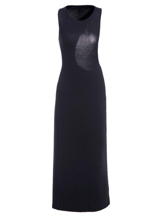 shops Asymmetrical Backless Sleeveless Dress - BLACK L