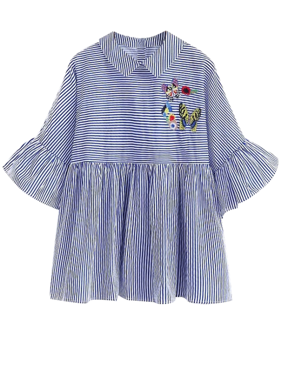 Embroidered Striped Smock Blouse - BLUE S Mobile