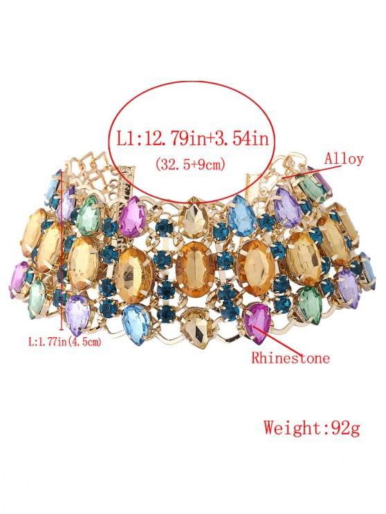 Wide Rhinestoned Hollow Out Choker - COLORFUL  Mobile
