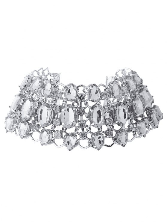 Wide Rhinestoned Hollow Out Choker -   Mobile