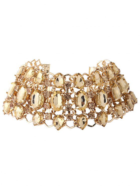Wide Rhinestoned Hollow Out Choker - CHAMPAGNE  Mobile
