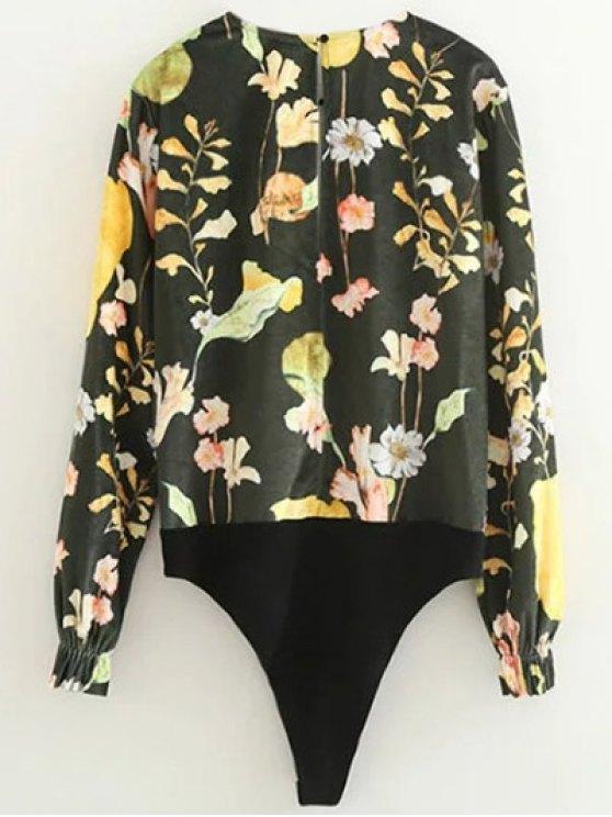 Floral Print Velvet Bodysuit - FLORAL L Mobile