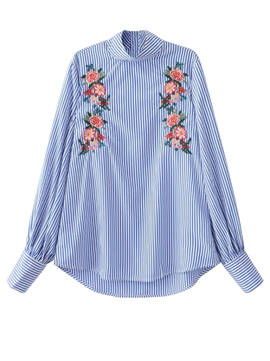 women Floral Embroidered Striped Blouse - STRIPE M