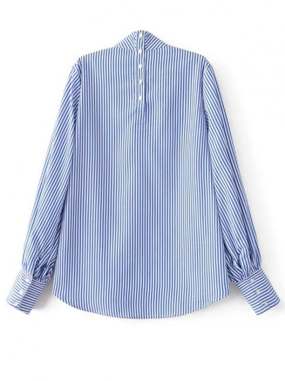 Floral Embroidered Striped Blouse - STRIPE M Mobile