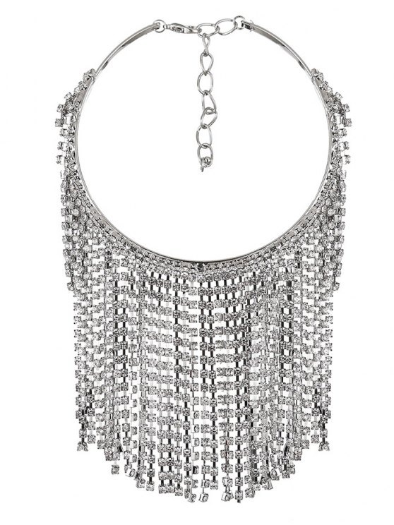 Rhinestoned Tassel Necklace - WHITE  Mobile